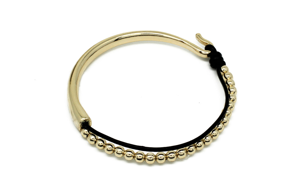 Lys Black Leather Bangle with Gold Balls - Boho Betty