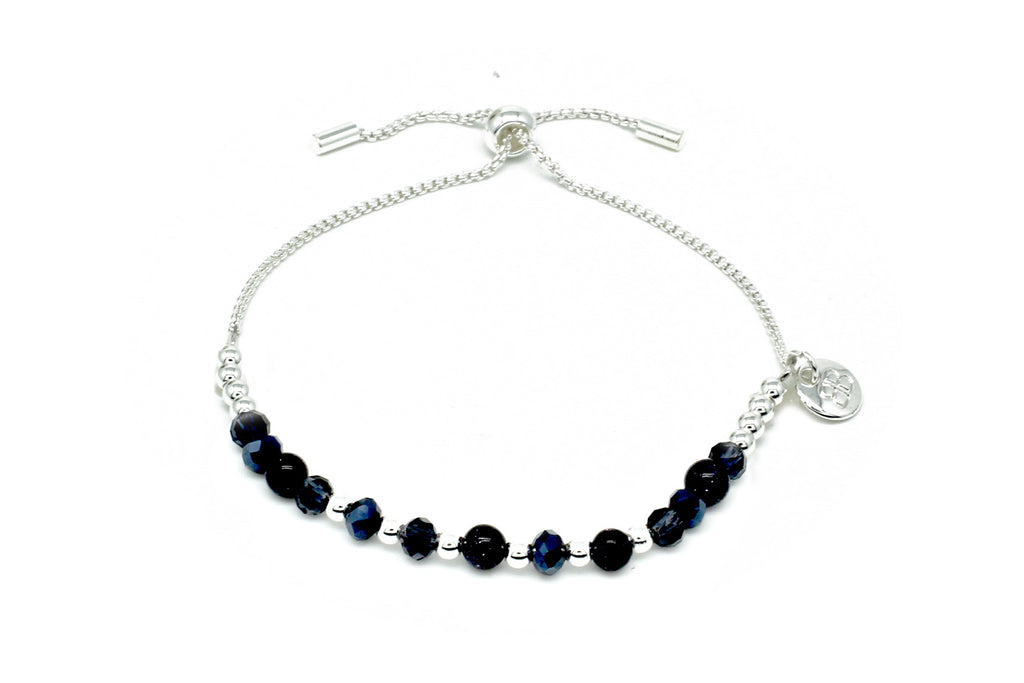 Foxtrot Navy Crystal Friendship Bracelet - Boho Betty