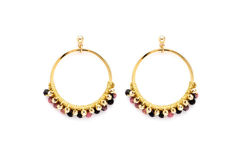 Alboka Gold Gemstone Hoop Earrings