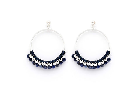 Alboka Navy BeadHoop Earrings