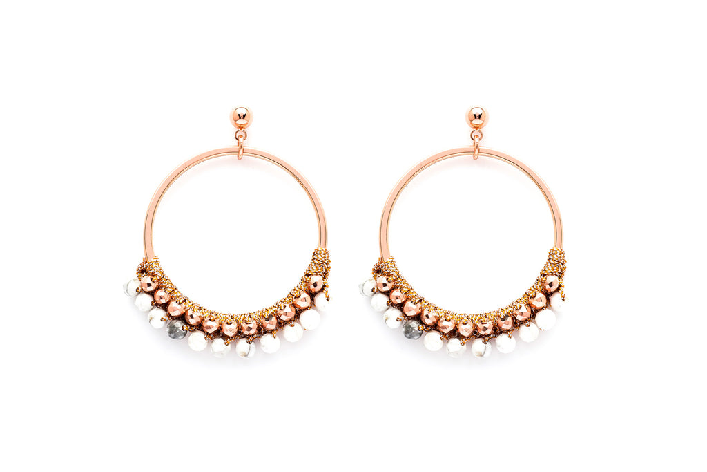 Alboka Rose Gold Semi Precious Stone Bead Hoop Earrings