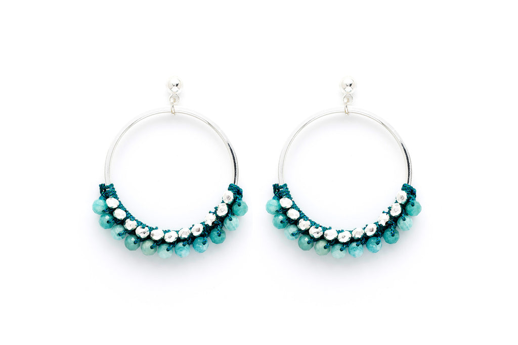 Alboka Teal Bead Hoop Earrings
