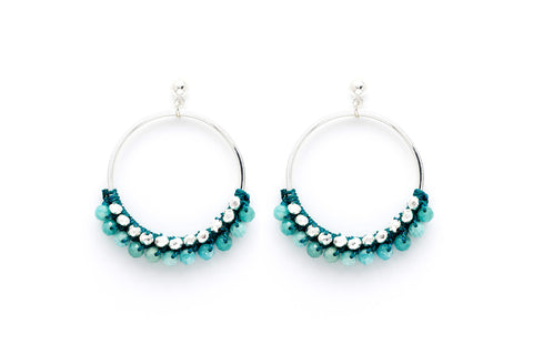 Alboka Teal Semi Precious Stone Hoop Earrings