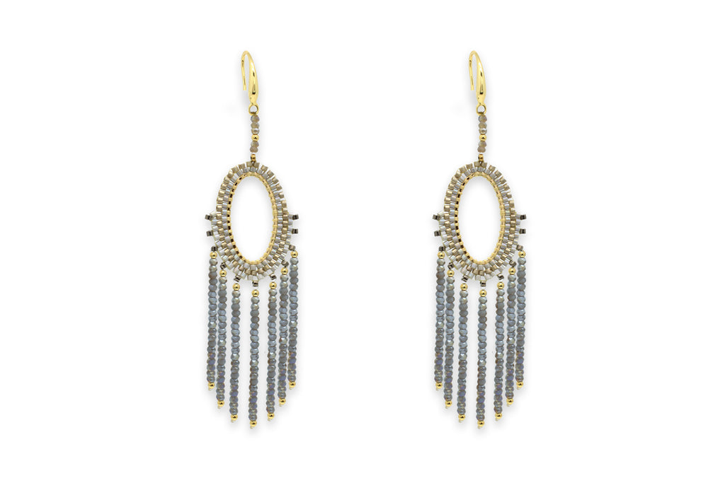 Bansuri Grey Drop Crystal Earrings - Boho Betty