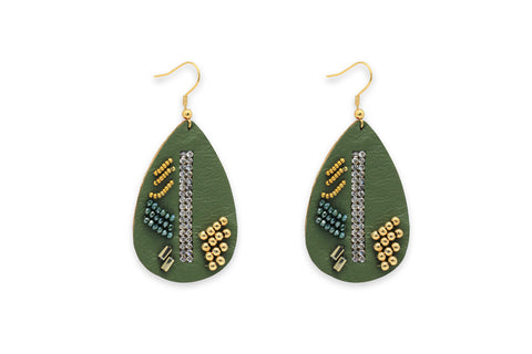 Baroque Green Leather Teardrop Earrings