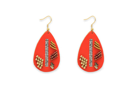 Baroque Orange Leather Teardrop Earrings