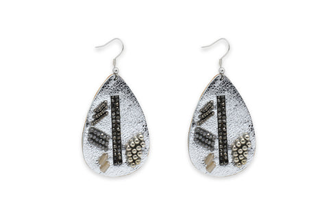 Baroque Silver Leather Teardrop Earrings