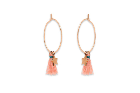Cascara Rose Gold Hoop Pink Tassel Earrings