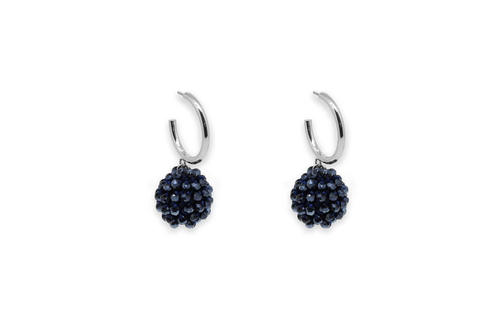 Chillador Navy Crystal Ball Earrings