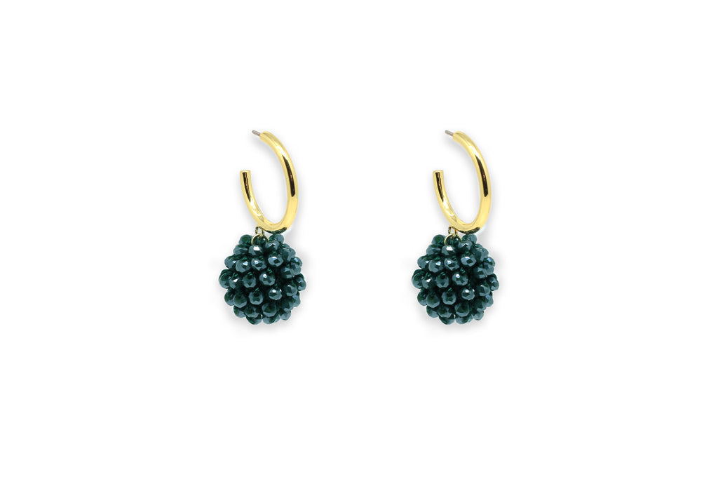 Chillador Teal Crystal Ball Earrings