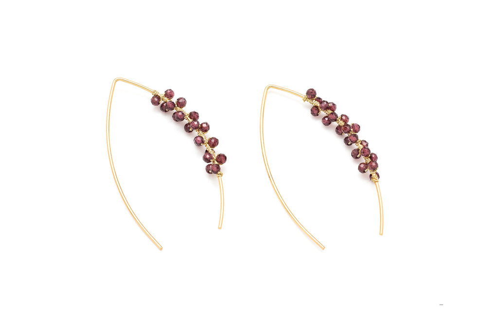 Cymbal Garnet Pull Through Earrings