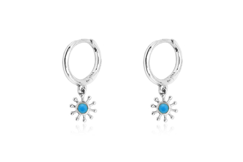 Field Blue Silver Sunburst Drop Earrings - Boho Betty