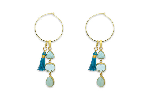 Gankino Gold Drop Aragonite Earrings