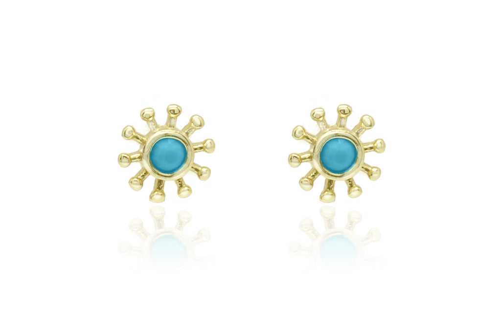 Lopez Gold Sunburst Stud Earrings - Boho Betty
