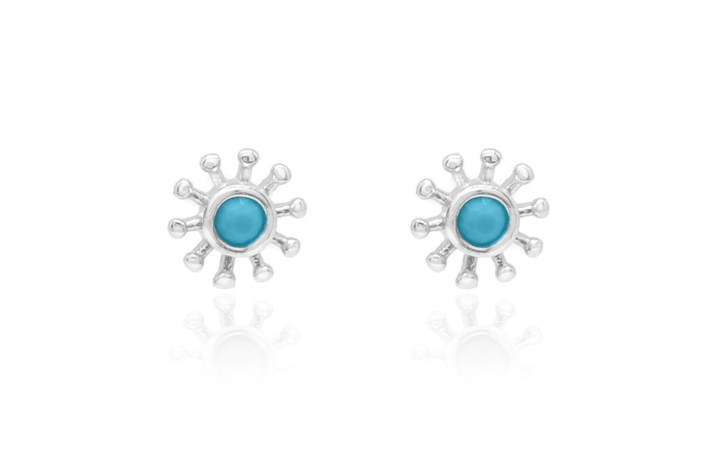 Lopez Silver Sunburst Stud Earrings - Boho Betty