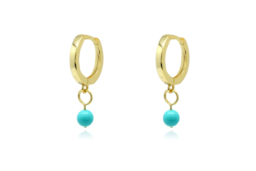 Samms Blue Bead Charm Gold Hoop Earrings - Boho Betty