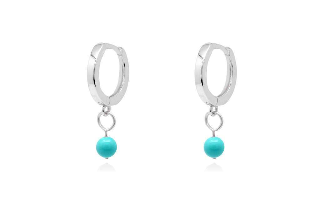 Samms Blue Bead Charm Silver Hoop Earrings - Boho Betty