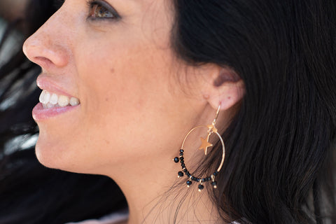 Canotila Black Hoop Earrings