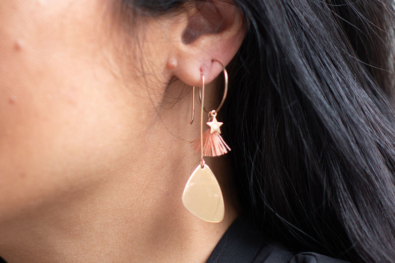 Berges Rose Gold Paddle Drop Earrings - Boho Betty