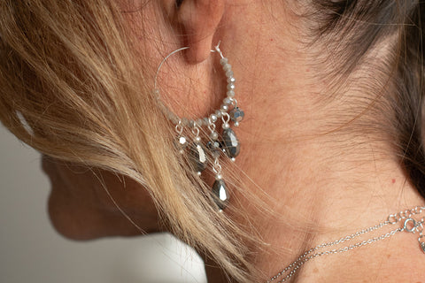 Lakanica Silver Beaded Hoop Earrings