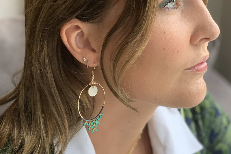 Cajun Aqua Chevron Hoop Earrings - Boho Betty