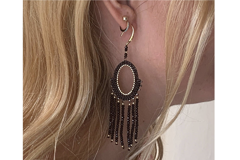 Bansuri Black Crystal Drop Earrings - Boho Betty