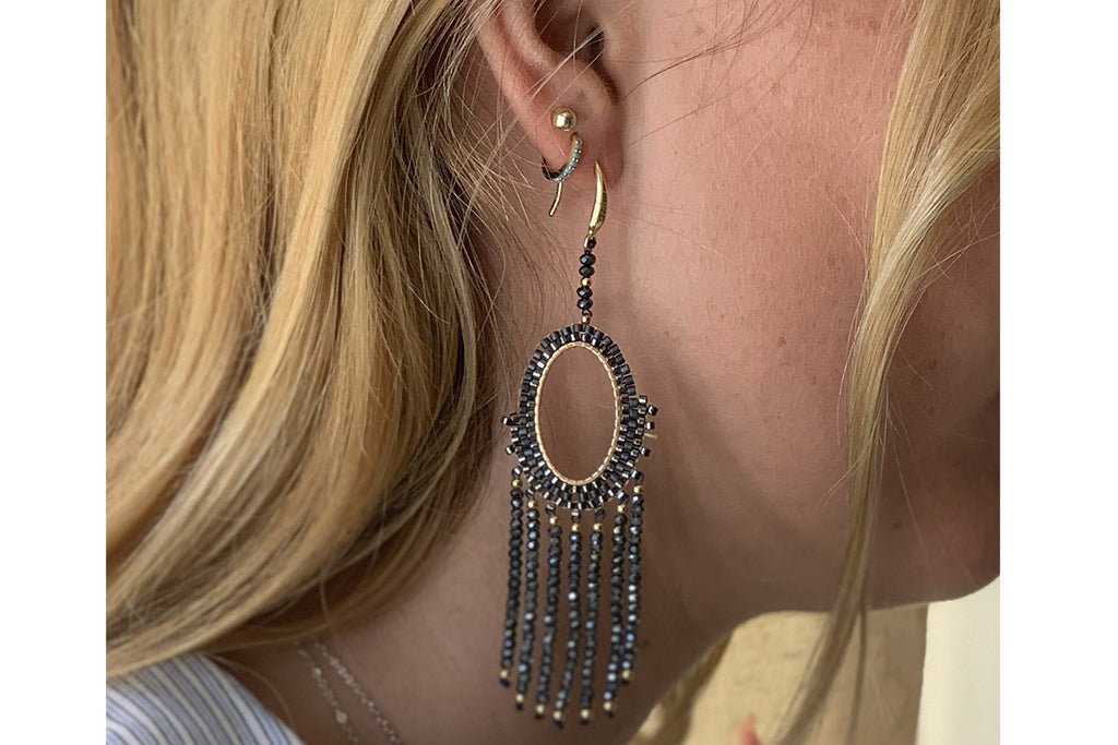 Bansuri Navy Crystal Drop Earrings - Boho Betty