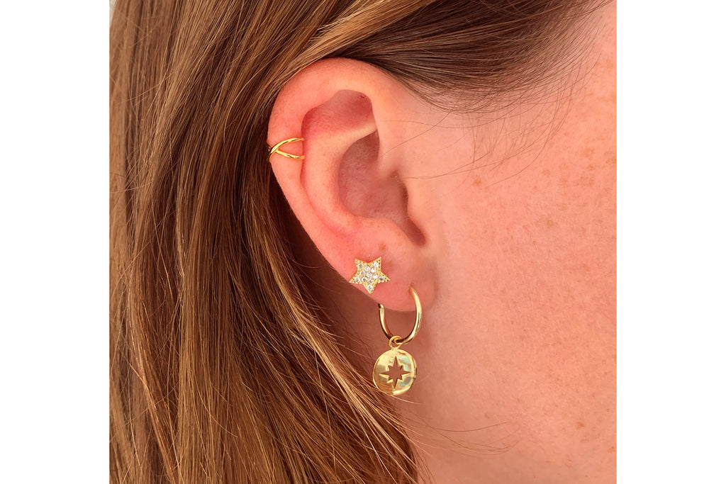 Chastain Gold CZ Star Stud Earrings