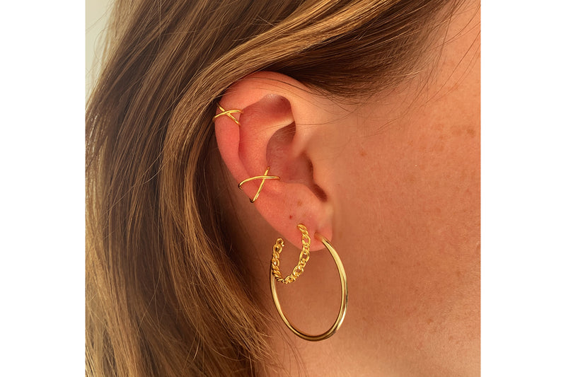 Julin 34mm Gold Plain Hoop Earrings - Boho Betty