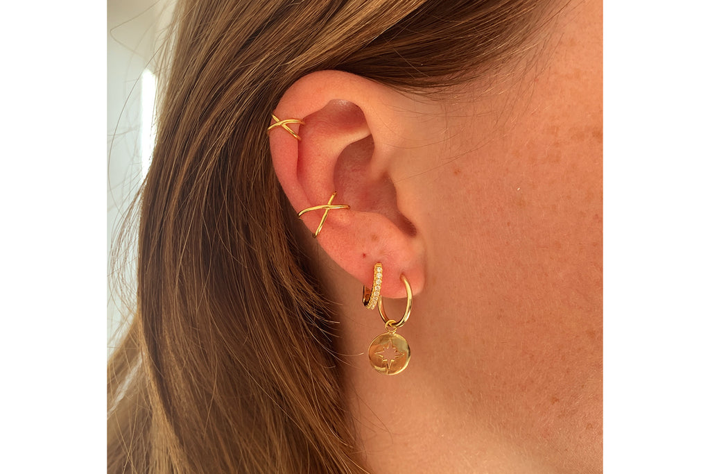 Dorval Gold CZ Hoop Huggie Earrings - Boho Betty