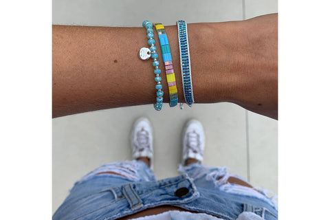 Aragats Blue 3 Layer Bracelet Stack