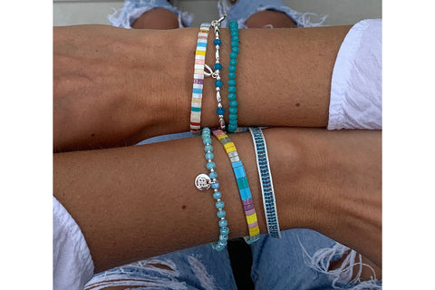 Chelia 3 Layer Blue Bracelet Stack