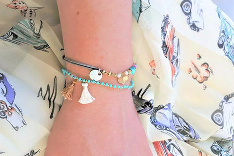 Fairy Pools - A Combination of 2 Layered Stretch Blue Friendship Bracelets with Tassels and Beads