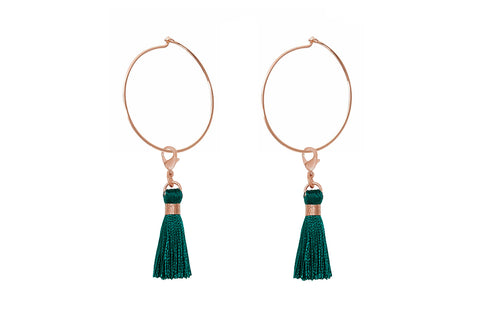 Gavot Rose Gold Green Tassel Hoop Earrings
