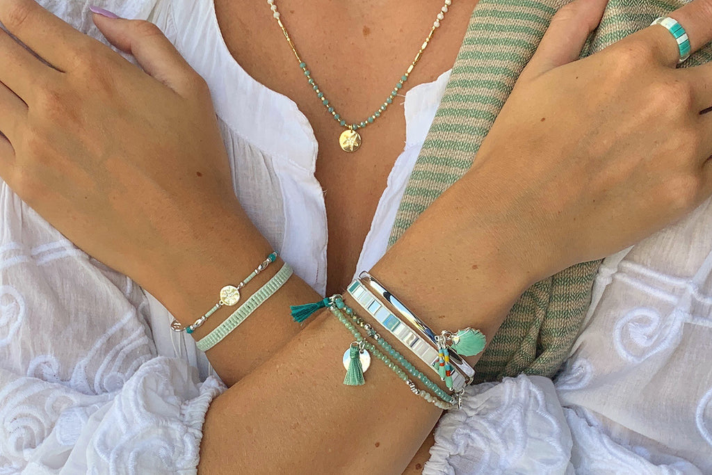 Denali Mint 3 Layer Bracelet Stack - Boho Betty