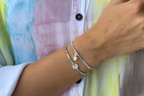 Popahill Blue 2 Layer Bracelet Stack
