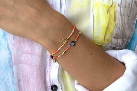 Popahill Coral 2 Layer Bracelet Stack