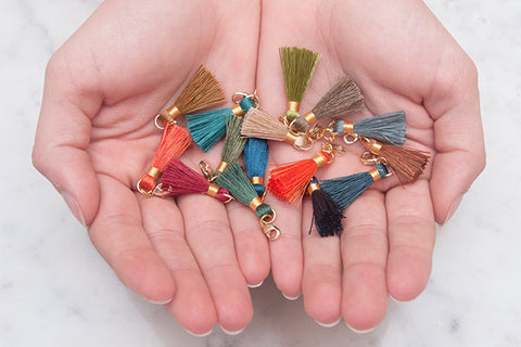 Individual Mini Tassels with Gold Lobster Claw Fastening