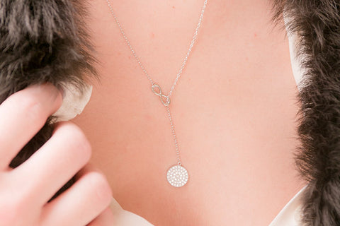 Grappa Sterling Silver Pull Through Necklace with Cubic Zirconia Disc Pendant