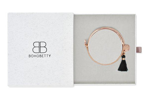 Haine Rose Gold Tassel Bangle Gift Set
