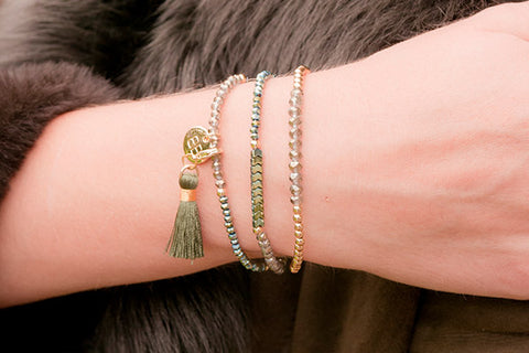 Halimede Gold & Green Crystal Stretch Bracelet