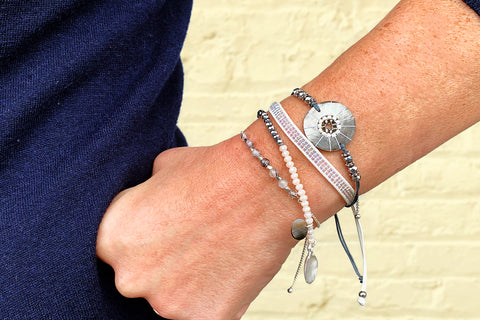 Hornpipe Silver Disc Friendship Bracelet