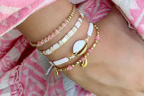 Frissell Coral 2 Layer Bracelet Stack