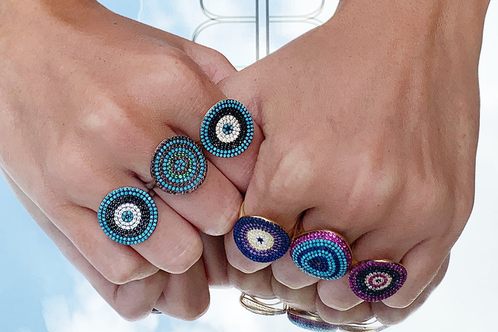 Grande Sterling Silver CZ Multi Beaded Ring - Boho Betty