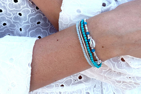 Tahan Blue 2 Layer Bracelet Stack