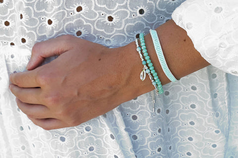 Wutai Mint 3 Layer Bracelet Stack