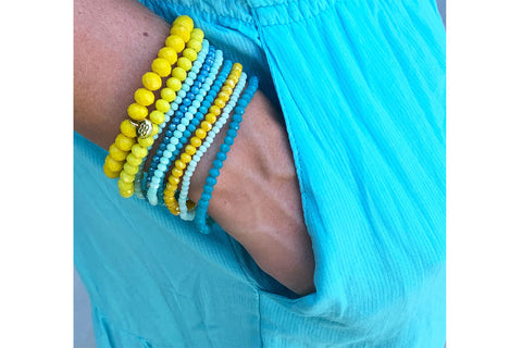 Longan 9 Layered Yellow, Blue and Mint Bracelet Stack