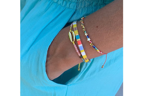 Kangto Multicolour 3 Layer Bracelet Stack