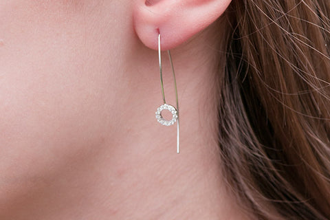 Kelly Sterling Silver Cubic Zirconia Circle Thread Through Earrings