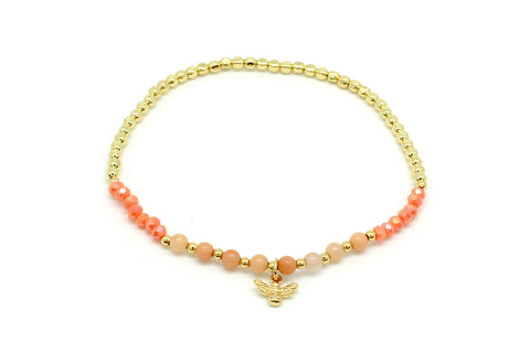 Kiwi Coral Stretch Bee Bead Bracelet